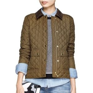 J Crew Quilted Field Jacket Corduroy Collar Olive